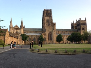 The north view of the massive norman nave of Durham Cathedral seen from Palace Green.
